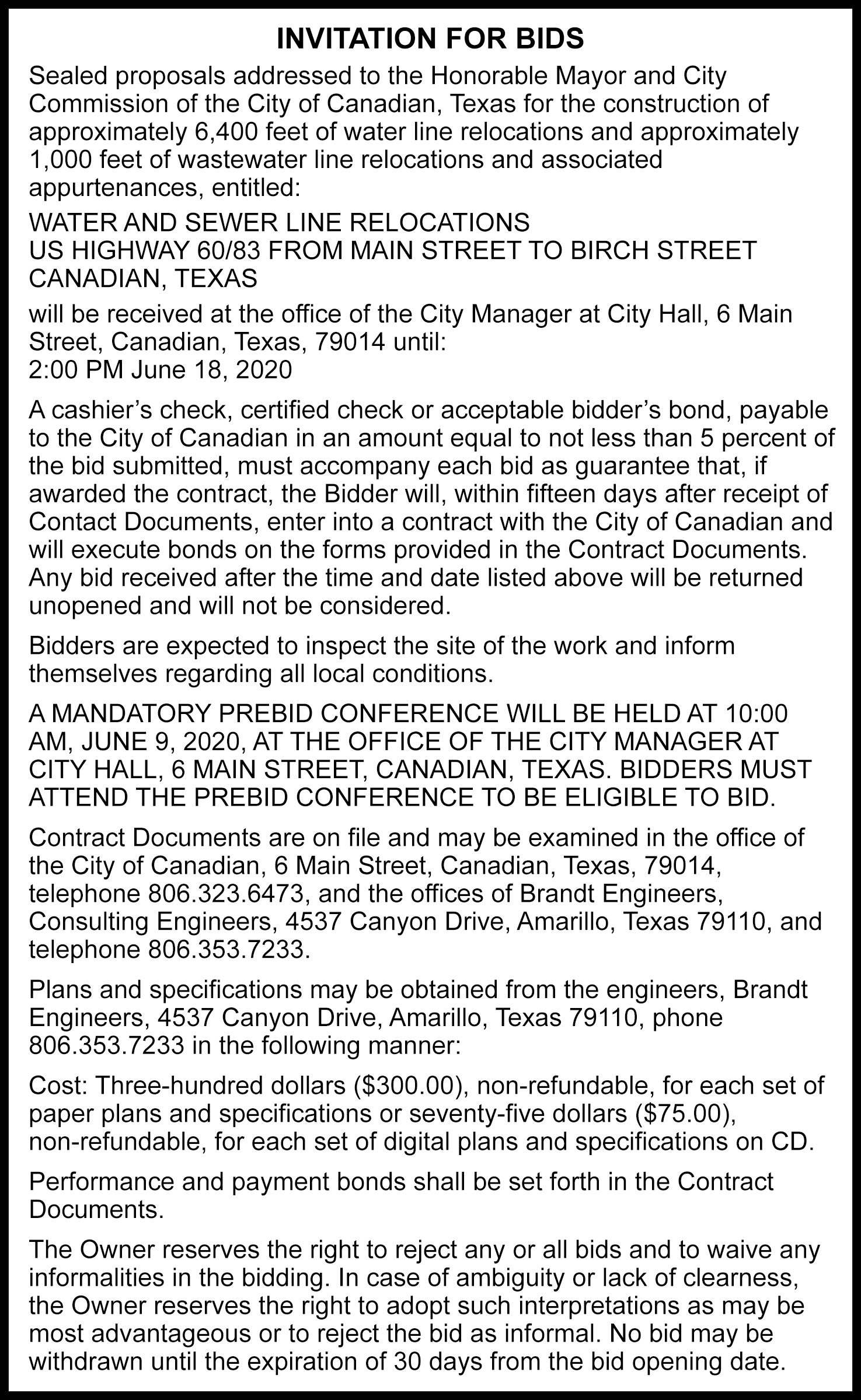 City of Canadian Notice to Bidders
