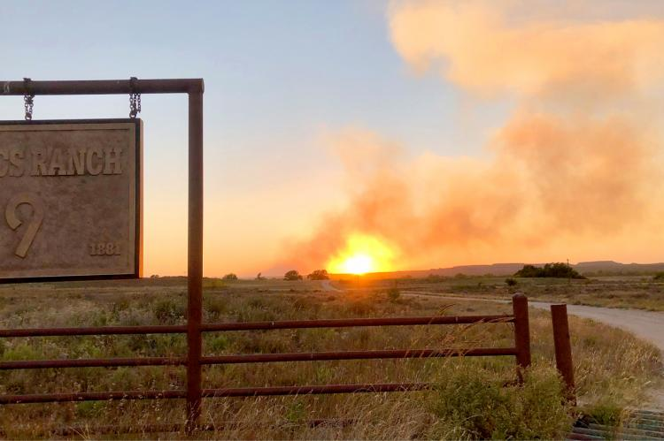 Fire in Roberts County, taken from entrance to Isaacs Ranch by Robin Mitchell as the sun set.