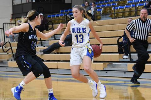 Maci Merket (13) will make the transition from the floor to the bench this season as a graduate assistant for the Flying Queens at Wayland Baptist University in Plainview.