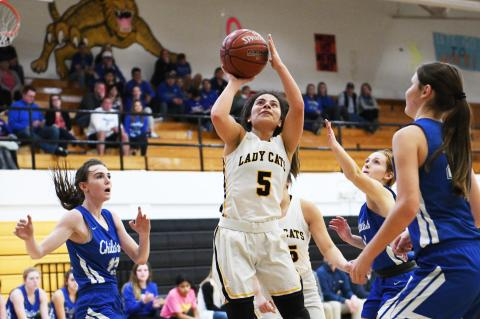 Lady Cats fight through injuries to win 3-of-5 at Nazareth Tourney, but fall to Childress Tuesday