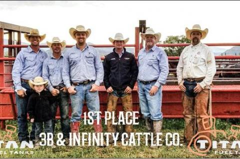 IN PHOTO ABOVE: 3B Cattle & Infinity Cattle team members Ryan McCoy, Zack Burson and son, Ryker Burson, Payte Beedy, Cutter McLain, Todd Beedy, and Jay Jackson. PHOTO BY KAYCEE HOOPER