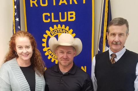 Bonnie & Jason Abraham with Rotarian George Briant