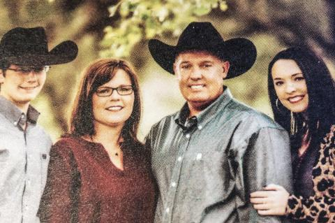 Fort Elliott CISD trustee Brett Begert (shown here with wife Hayley and their children) traded in his Allison Antelope blue and white when he voted alongside his fellow board members to consolidate his Allison alma mater. But his two children—high school freshman Boone (left) and college freshman McKinley (right)—don't know any different, having been raised in the red and black of Fort Elliott's consolidated school district.
