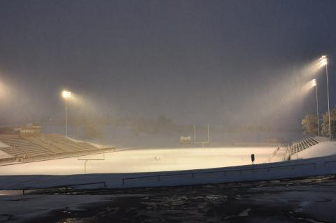 Wildcat Stadium is covered in a blanket of snow before last Thursday's games. Canadian received 6-11 inches of snow.