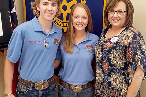 ROTARIAN JANET GUTHRIE WITH 4-H LEADERS, ALEX SMITH AND PAIGE PERRY
