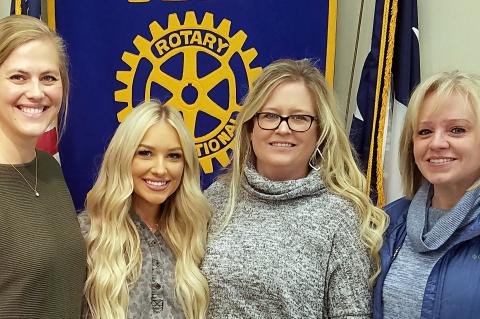 Rotarian Haley Ward with Mady McLanahan, Holly McLanahan, and Lindy Cullers of Vintage Leopard