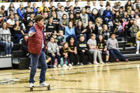 Larry Smith as Marty McFly skateboarded into the gym to introduce the show.