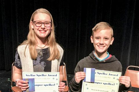 Spelling Bee Champ Laney Hood and Runner-up Collier Cook
