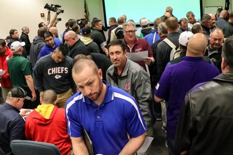 This was the chaotic scene Monday at the Region 16 Service Center in Amarillo, where UIL officials announced the official reclassification and realignment assignments for the next two school years.