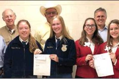 Presentation at Canadian High School: (back row, left to right) FFA Advisor Tonny Hamby, Gary Sutherland, George Clift, Salem Abraham, and FCCLA Advisor Paige Culwell; (front row) FFA'ers, Peyton Dockray and Emma Waters, and FCCLA'ers Allison Culwell and Lily Smith.